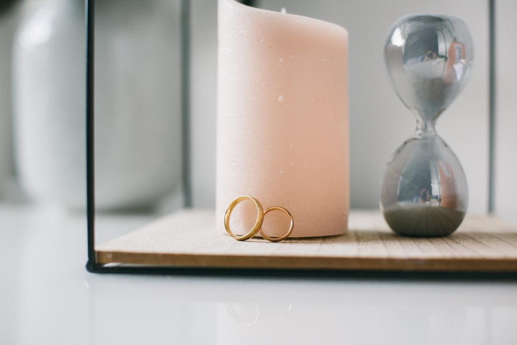 Detailfoto der Hochzeitsringe